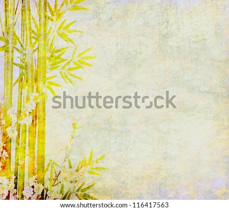 bamboo and plum blossom on antique cracked paper texture - stock photo