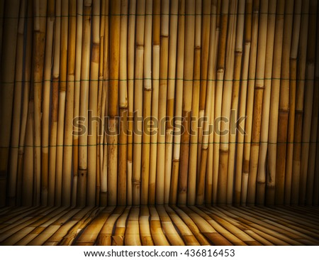 Bamboo.Bamboo room.Bamboo interior.Bamboo studio template. Old Bamboo background for montage or product presentation. 3D illustration - stock photo