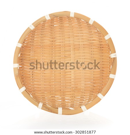 Bamboo basket hand made  isolated on white background. This has clipping path. - stock photo
