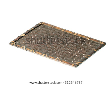 Bamboo basket  isolated on white background. Woven from bamboo tray. - stock photo