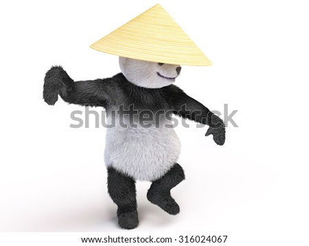 bamboo bear in a military pose preparing to leap and drawing of blows. Panda demonstrates styles of karate Shaolin monks kung fu school. animal ready to attack. combatant dressed in palm leaves hat - stock photo
