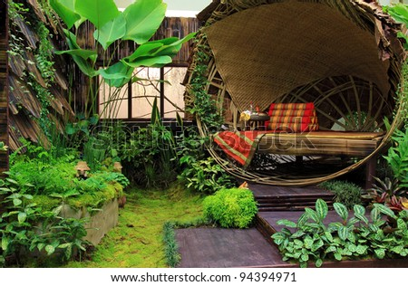 Bamboo bed in the garden thai style - stock photo