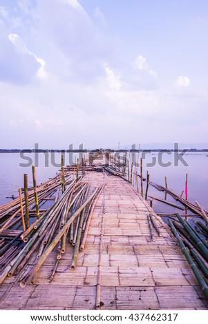 Bamboo bridge on the lake, Thailand - stock photo