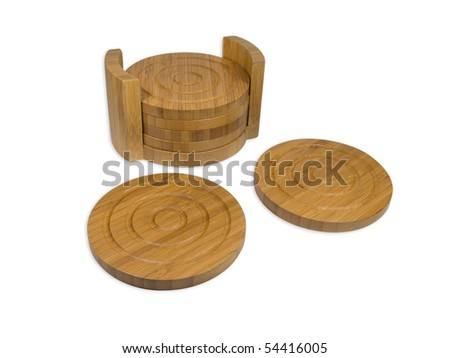 Bamboo Coasters on white - stock photo