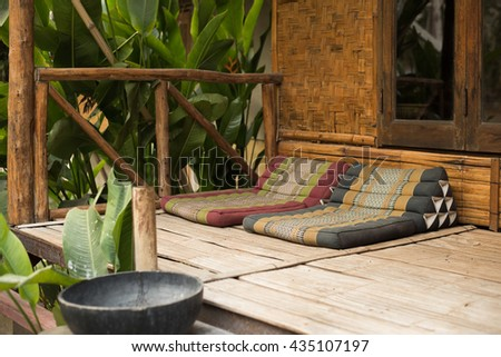 Bamboo Cushion balcony - stock photo