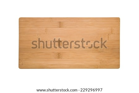bamboo cutting board isolated - stock photo