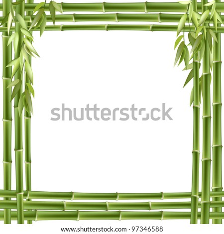 Bamboo frame. background with copy space. - stock photo