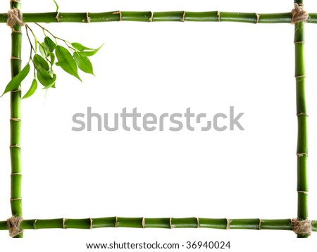 bamboo frame made of stems - stock photo