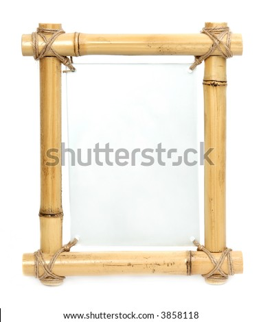 bamboo frame with blank glass board center - stock photo