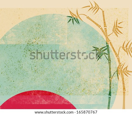 Bamboo ink drawing on abstract vintage background - stock photo