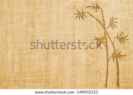 Bamboo ink drawing on bamboo paper background with copy space - stock photo