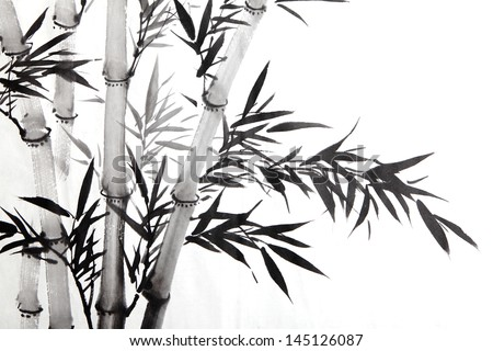 bamboo leaf , traditional chinese calligraphy art isolated on white background. - stock photo