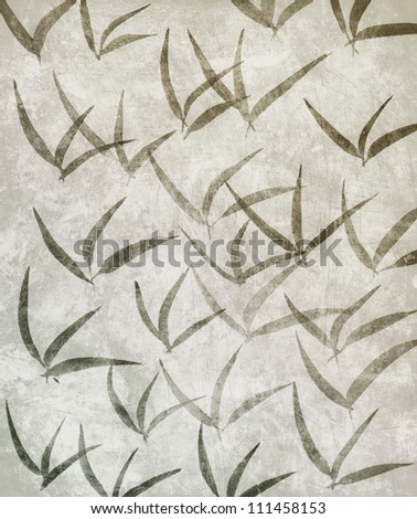 Bamboo Leaves Ink Painting on grunge background - stock photo