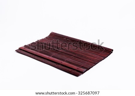 Bamboo Mat Plate on White Background - stock photo