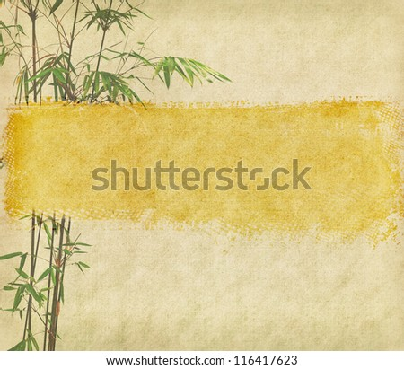 bamboo on old antique paper texture - stock photo