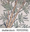 bamboo painting on chinese temple wall - stock photo