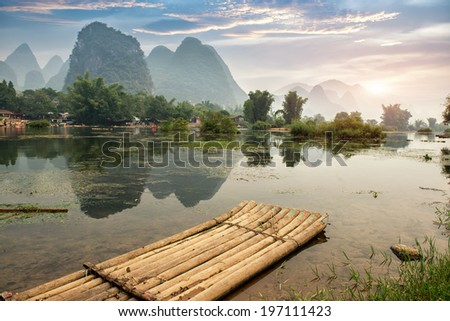 Bamboo rafting on river, Yangshou, China - stock photo