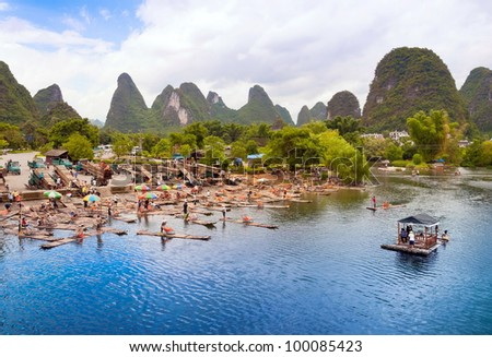 Bamboo rafting starting point in Yangshuo Li River, China - stock photo