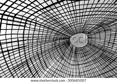 Bamboo  roof pattern with black and white. - stock photo