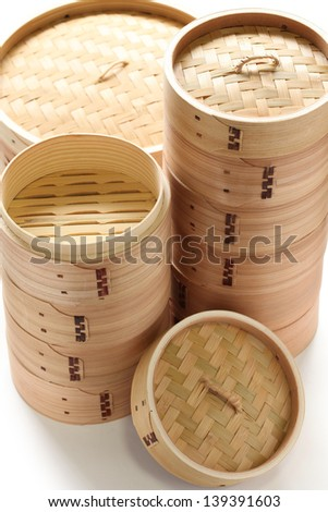 bamboo steamer set, chinese kitchenware - stock photo