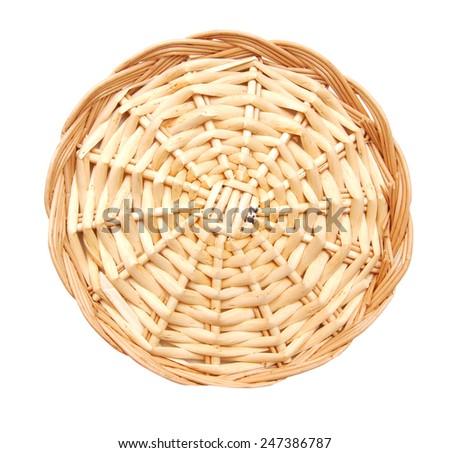 bamboo tray isolated on white background  - stock photo