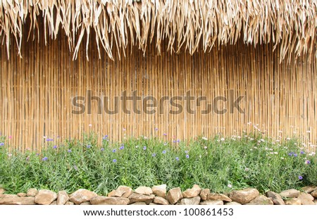 Bamboo wall of the country house in Thailand. - stock photo