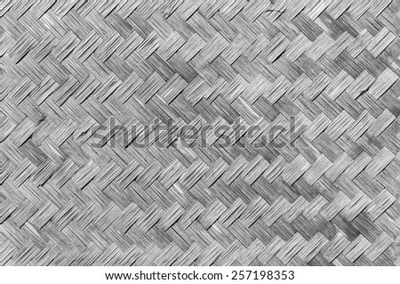 bamboo weave for background, black and white - stock photo