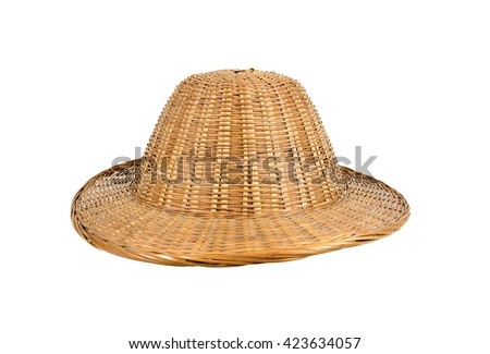 Bamboo weave hat isolated on white background - stock photo