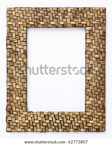 bamboo  weave picture frame isolated on white background - stock photo