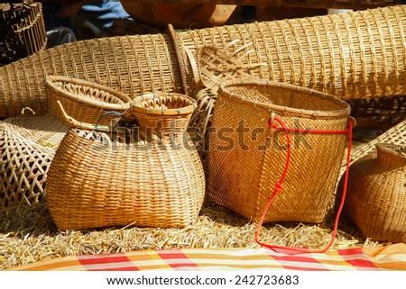 Bamboo weaving Thailand style - stock photo