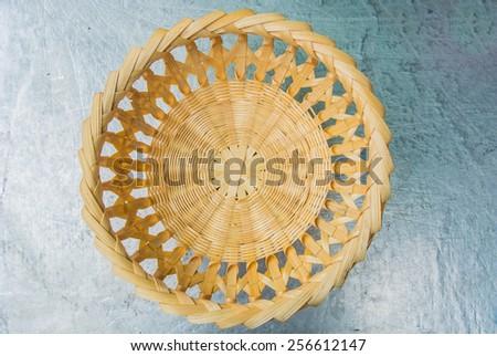 Bamboo woven basket pattern. woven baskets. - stock photo