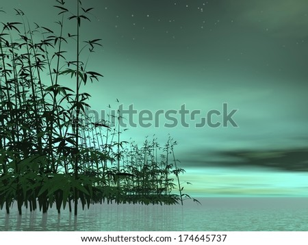 Bamboos in water into green night background - stock photo