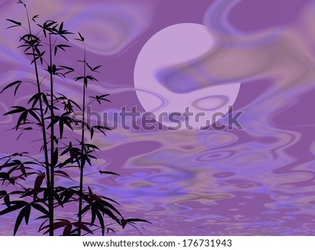 Bamboos next to cloudy violet night with full moon - stock photo