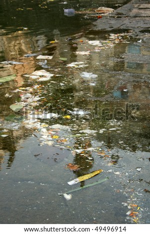 Banaganga Tank in the slums of the city Mumbai, India - stock photo