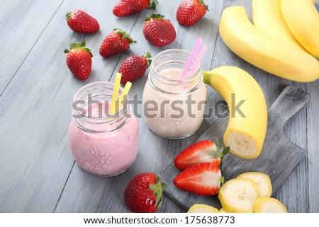 banana and strawberry smoothie - stock photo
