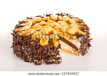 Banana cake dessert with dark chocolate sweet delicious tart - stock photo
