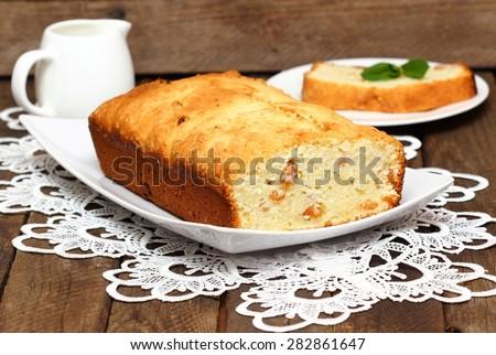 Banana cake on a plate - stock photo