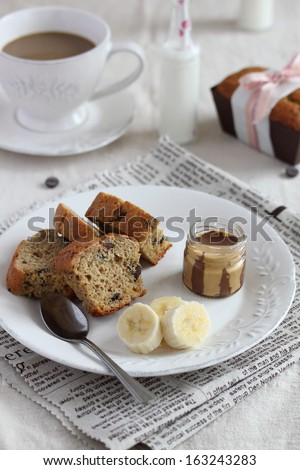 Banana chocolate chip bread - stock photo