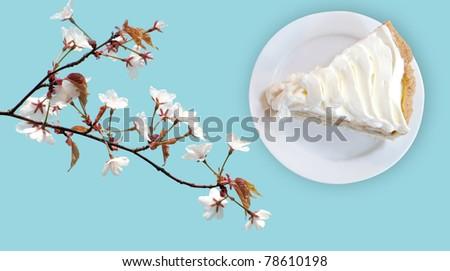 banana cream custard pie on flower blossom blue background - stock photo