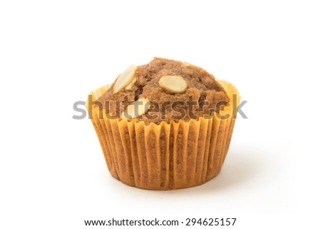 Banana cup cake isolated in white background - stock photo