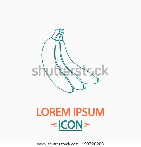 Banana Flat thin line icon on white background. Illustration pictogram - stock photo
