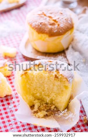 Banana Flavor Soft Cake with icing sugar - stock photo