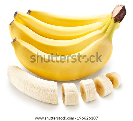 Banana fruit with banana pieces. File contains clipping paths. - stock photo
