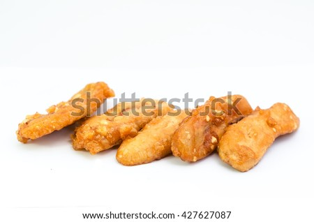 banana fry from Thailand on white background - stock photo
