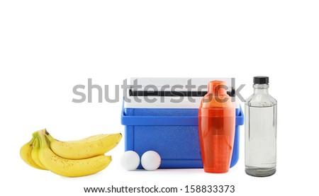 Banana Ice Cooler Golf Balls Martini Mixer Bottle of Water or Vodka Golfer Beverage Nutrition Kit - stock photo