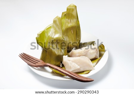 Banana leaf to packaging thai dessert style - stock photo