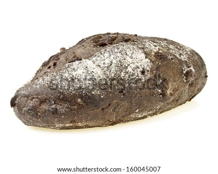 banana loves choco soft bread on white background - stock photo
