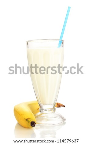 Banana milk shake isolated on white - stock photo