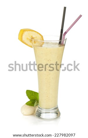 Banana milk smoothie with mint. Isolated on white background - stock photo