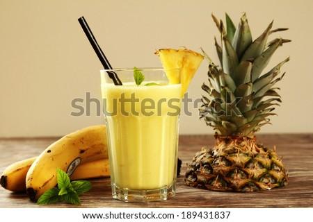 banana milkshake - stock photo